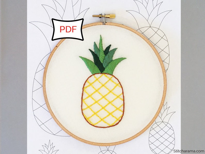 Pineapple Embroidery Pattern  PDF Download image 0
