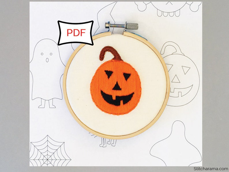 Halloween Embroidery Pattern  PDF Digital Download Hand image 0