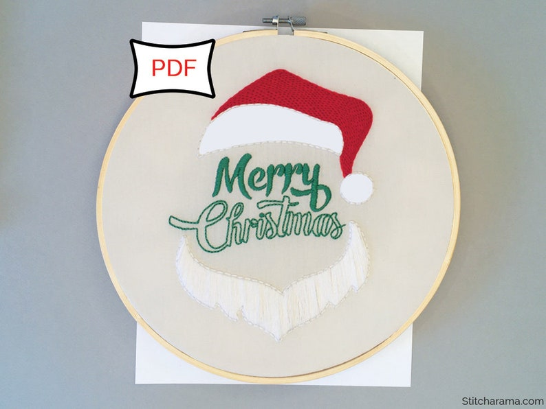 Merry Christmas Embroidery Pattern  PDF Download image 0