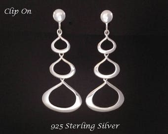 Clip On Earrings: Impressive Long Drop Artisan Crafted Sterling Silver Clip-On Earrings, Gifts for Women, Drop Earrings, Silver Earrings 326