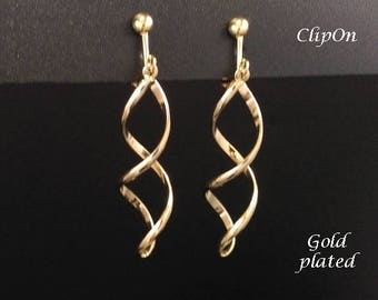 Clip On Earrings: Beautiful Gold Plated Twist Design Costume Clip-on Earrings | Fashion Earrings, Long Drop Earrings, Clip Earrings 295