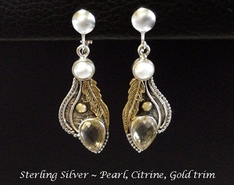 Clip On Earrings: Clip-On Earrings Vintage Style Sterling Silver, Pearls & Citrine Gems, Gold Trim | Gifts for Women, Silver Earrings, 462