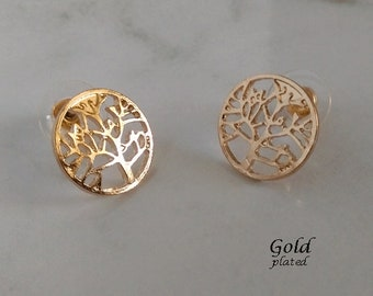 Stud Earrings: Fabulous Gold Plated Stud Earrings, Tree of Life Design | Costume Earrings, Gifts for Women, Gold Earrings, Gold Studs, 439