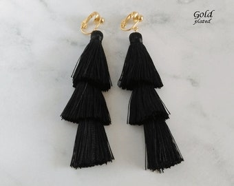 Clip On Earrings: Black Layered Tassel Costume Clip-on Earrings, Gold Plated Clips | Fashion Earrings, Clip Earrings, Gifts for Women 465