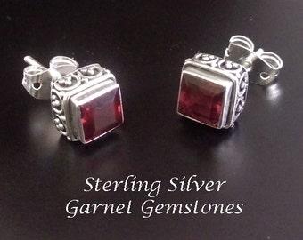 Stud Earrings 184: Elegant Sterling Silver Stud Earrings with Garnet Gemstones | Studs, Silver Earrings, Garnet Earrings, Stud Earrings 184