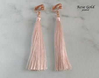 Clip On Earrings: Clip-on Earrings Pink Tassels, Long Drop, Rose Gold Plated Clips | Fashion Earrings, Clip Earrings, Gifts for Women 466