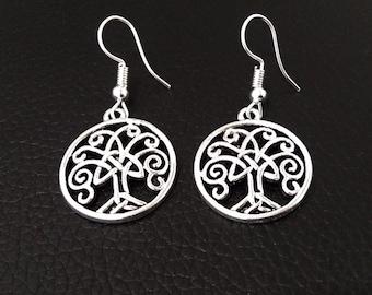 Earrings: Celtic Tree of Life Silver Earrings, Celtic Tree Design in Bright Finish | Fashion Earrings, Drop Earrings, Gifts for Women, 440