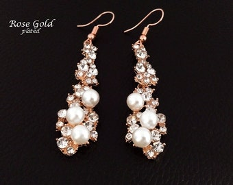 Earrings: Rose Gold Plated Costume Earrings Antique Style with Pearls & Crystals | Fashion Earrings, Gold Earrings, Gifts for Women, 442
