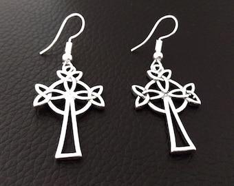 Costume Earrings: Celtic Cross Silver Earrings, Celtic Design in Bright Finish | Fashion Earrings, Drop Earrings, Dangle Earrings, 441