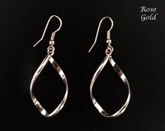 Rose Gold Earrings: Costume Earrings in Rose Gold Plated Finish, Twist Design | Dangle Earrings, Fashion Earrings, Gift, Drop Errings 341