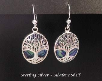 Dangle Earrings: Stunning Abalone Shell in Sterling Silver Earrings, Celtic Tree of Life | Jewelry, Gifts for Women, Celtic Jewelry, 433