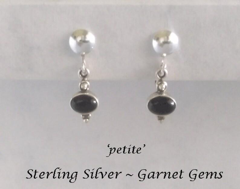 Very Deep Garnet Gemstone Silver Earrings Gift Idea 554 Gifts for Women Petite Size Clip On Earrings: Sterling Silver Clip On Earrings