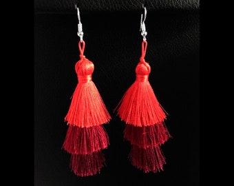 Earrings:  Layered Tassel Costume Earrings Long Drop, Red Tones | Fashion Earrings, Costume Earrings, Tassel Earrings, Gifts for Women 443