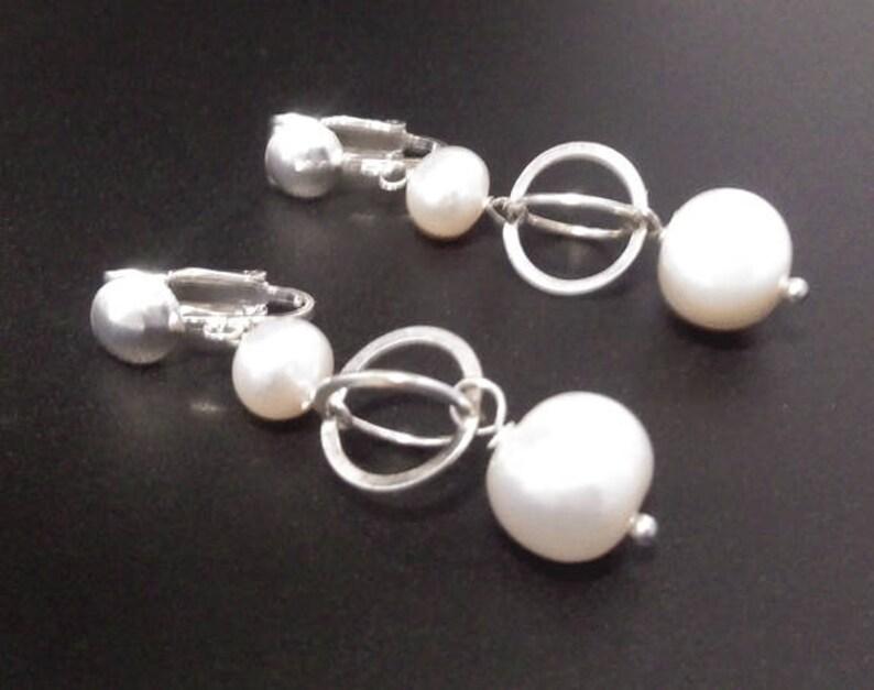 Pearl Clip On Earrings: Freshwater Pearls on Sterling Silver Clip-On Earrings Gifts for Women Gift 384 Silver Earrings Pearl Earrings