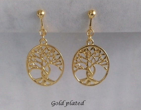 Clip Earrings Gold Plated Earrings Celtic Tree of Life Costume Earrings 551 Clip On Earrings: Gold Clip On Earrings Fashion Earrings