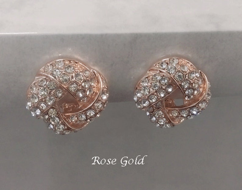 Fashion Earrings Clip On Earrings Button Clip-On Earrings Classy Rose Gold Clip-On Earrings with Crystals Vintage Gifts for Women 531