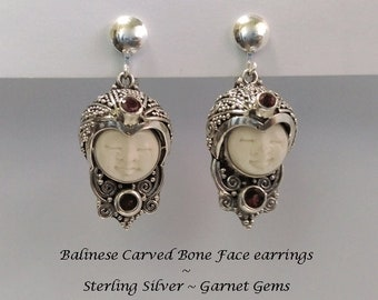 Clip On Earrings: Unique Clip-On Earrings, Traditional Balinese Bone Face Carving, 925 Sterling Silver & Garnet Gems | Gifts for Women, 436