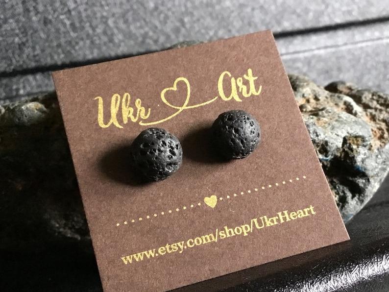 Men\u2019s black earring Male jewelry Lava earrings stud Small earring one Natural stone earring Male earring minimalist Casual jewelry black