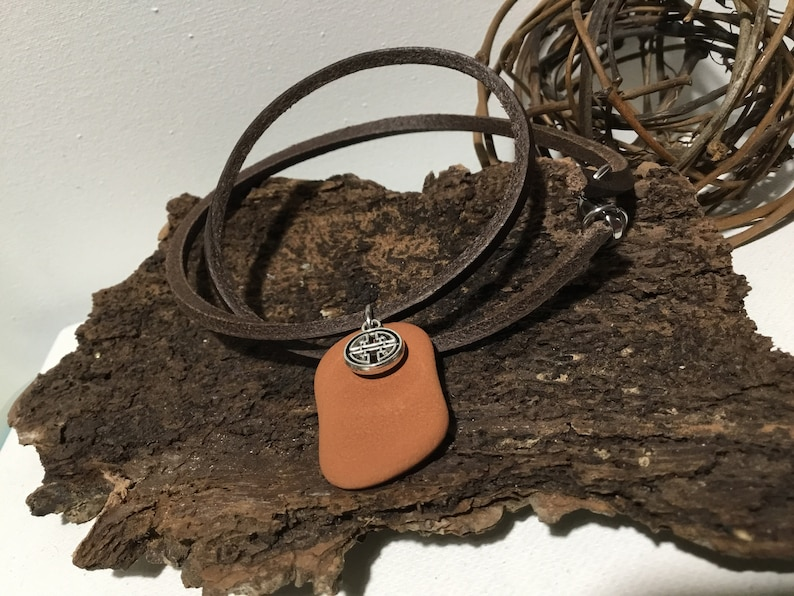 Viking choker necklace for men Leather jewelry for male Lucky celtic necklace for boyfriend Short necklace for husband Sympathy gift for men