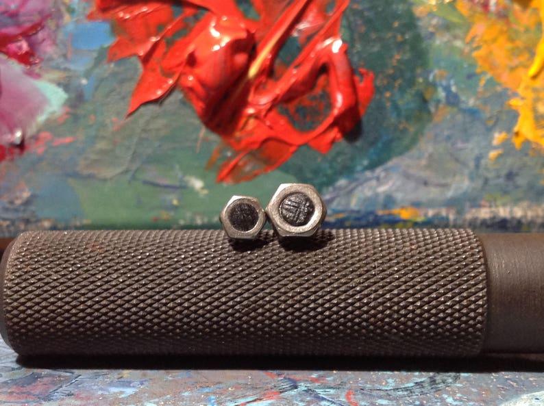 Real Hex Nuts Earrings Industrial Stud Earring Men Jewelry Unusual Post Ear Steampunk Earrings Screw Earrings Metal Studs For Men Tiny Studs