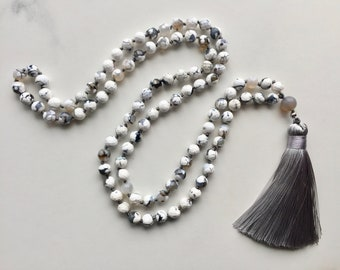 Beaded Knotted Mala Necklace, White Black Faceted Agate, Gray Silk Tassel, Agate, Natural Stones, Handmade, Boho, Yoga, Fortina Designs