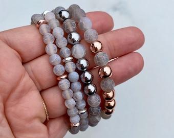 Matte Grey Gray Agate, Pink Silver Hematite, Stretch Beaded Bracelet, Natural Stones, Handmade, Fortina Designs
