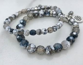 Mala Bracelet, White Cracked Agates, Fire Agates, Natural Stones, Silver Hematite, Silver Charm, Black, Boho, EtsyQuebec, FortinaDesigns