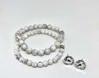 Duo Stretch Bracelet and Crystal Earrings, Swarovski, Natural Stones, White Howlite, Silver, Hematite, Boho, EtsyQuebec, FortinaDesigns