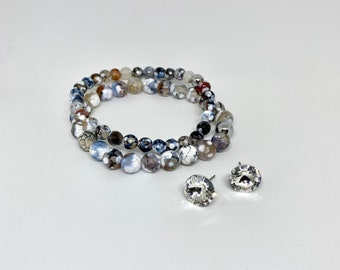 Duo Stretch Bracelet and Crystal Earrings, Natural Stones, White Facetted Fire Agate, Silver, Hematite, Boho, EtsyQuebec, FortinaDesigns