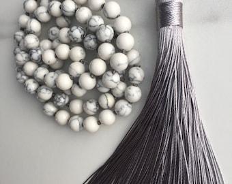 Beaded Knotted Mala Necklace, White Marble Howlite, Gray Silk Tassel, Agate, Silk, Natural Stones, Handmade, Boho, Yoga, Fortina Designs