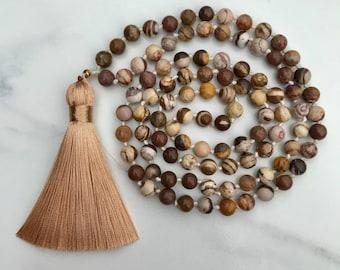 Beaded Knotted Mala Necklace, Brown Beige Zebra Jasper Beads, Gold Silk Tassel, Agate, Natural Stones, Handmade, Boho, Fortina Designs
