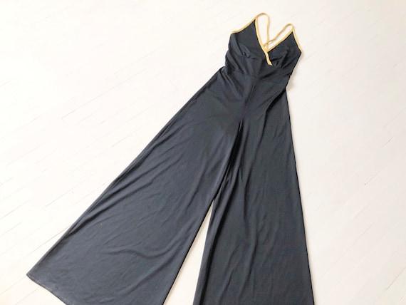 1970s Black Disco Jumpsuit