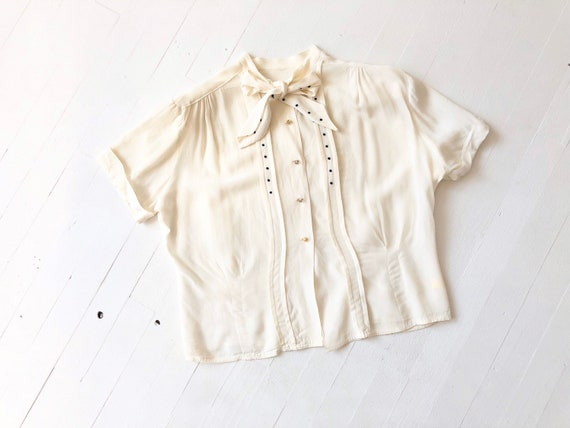 1940s Dotted Cream Rayon Crepe Blouse