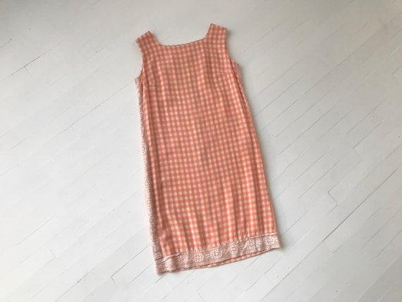 S 60s Peach Gingham Dress