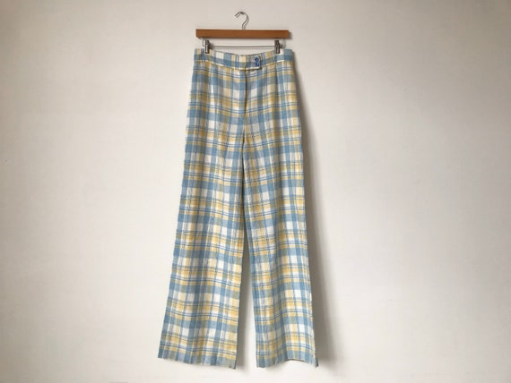 70s Pastel Plaid Wide Leg Pants