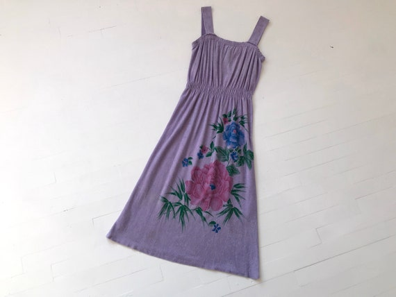 XS/S 70s Purple Floral Terrycloth Dress