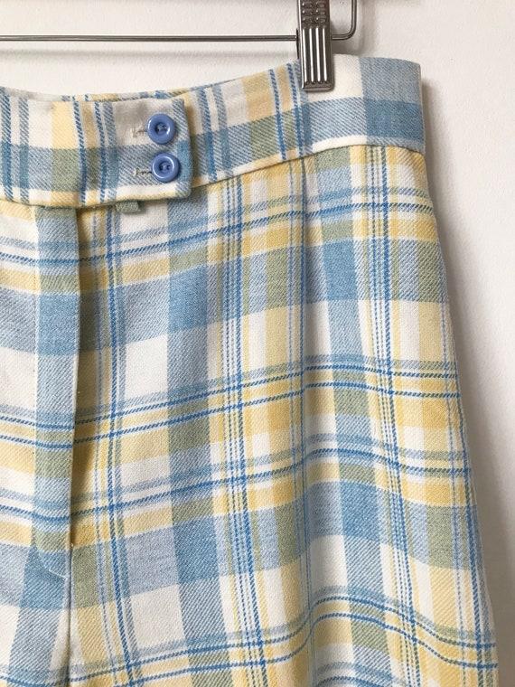 S/M 70s Pastel Plaid Wide Leg Pants - image 4