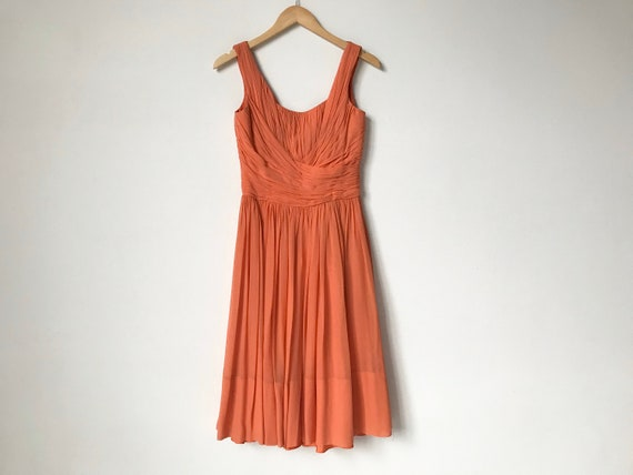 XS/S 1950s Tangerine Chiffon Dress