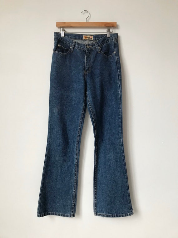S/M 70s Flared Blue Denim Jeans - image 3