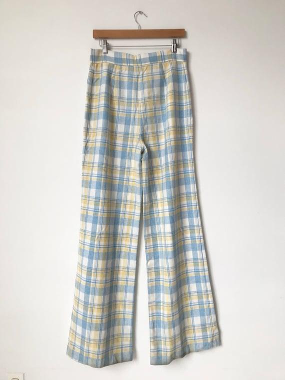 S/M 70s Pastel Plaid Wide Leg Pants - image 5