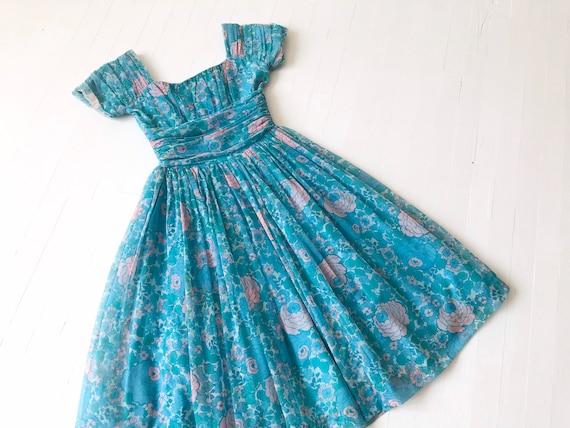1950s Jonathan Logan Blue Floral Print Chiffon Dre
