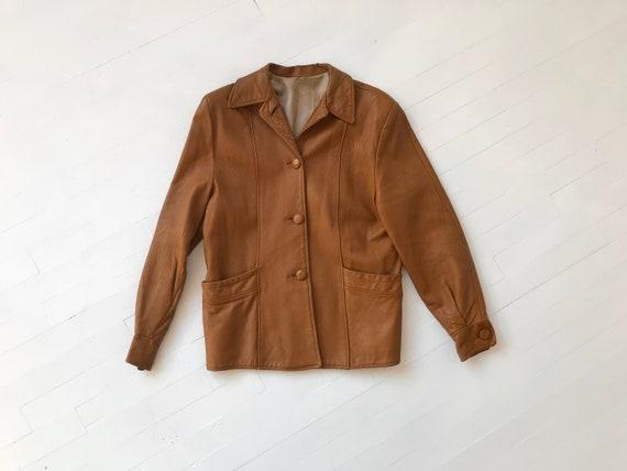 S/M 70s Cognac Leather Jacket
