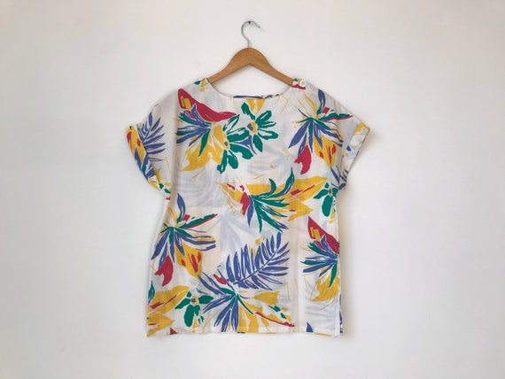 S/M 80s Tropical Print Top