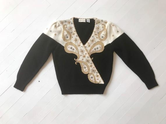 1980s Black Embroidered Metallic Paisley Sweater