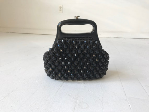 Black Beaded 60s Top Handle Bag