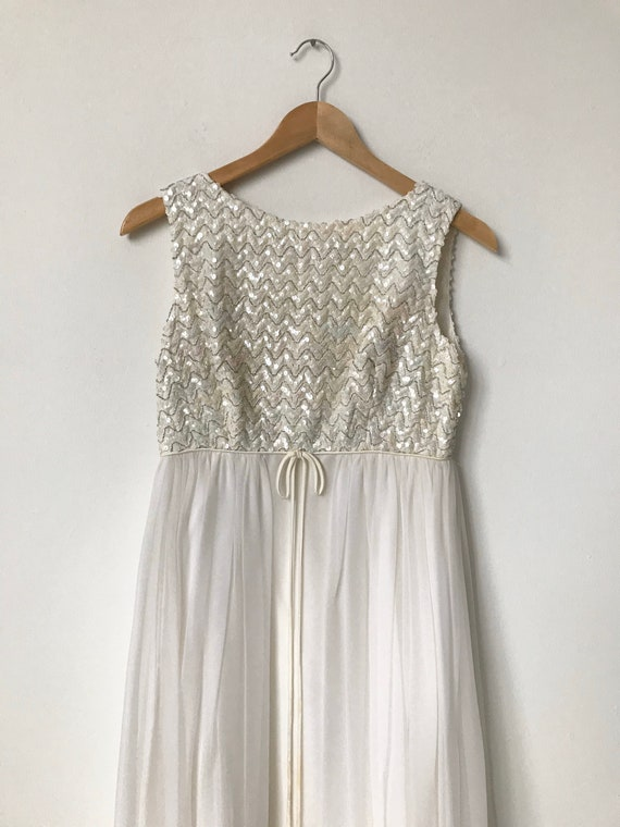 XXS/XS Long 60s White Silk Chiffon Sequin Dress