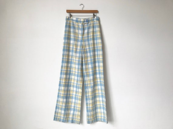 S/M 70s Pastel Plaid Wide Leg Pants