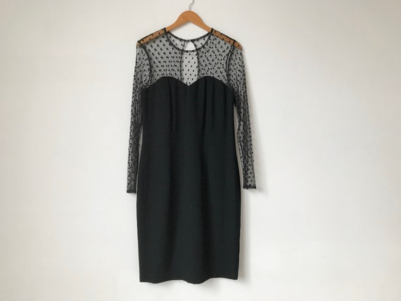 L 80s Black Lace Sweetheart Dress
