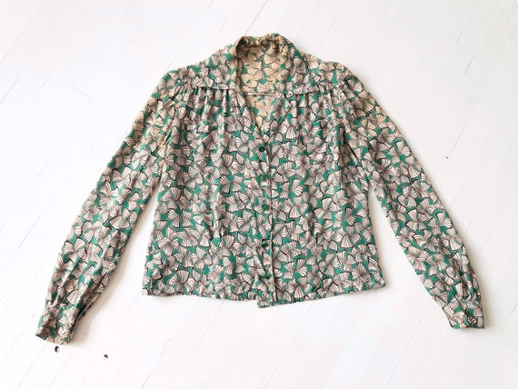 1940s Green Printed Rayon Blouse