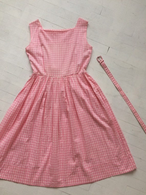 S/M 1950s Pink Gingham + Lace Dress - image 8